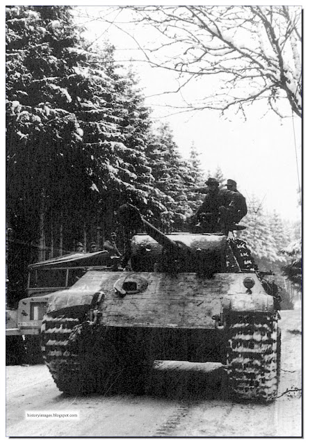 SS troops  Panther tank during Ardennes Offensive