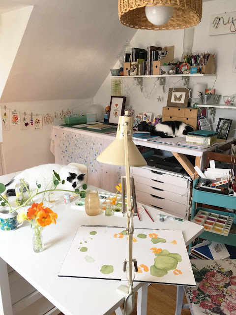 studio, painting, botanical painting, studio cats, Anne Butera, My Giant Strawberry