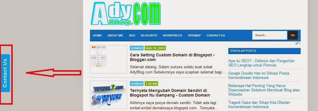 Contact Us Website >> Cara Mudah Membuat Contact Form Melayang Di Samping Blog