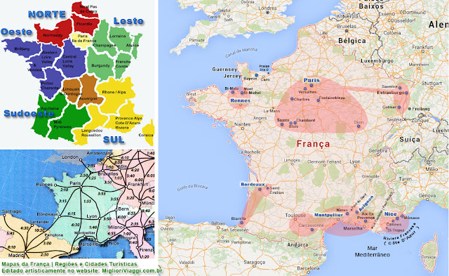 Mapas da França | Cidades turísticas e plano de viagem