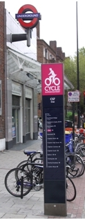 Cycle Superhighway signpost outside Oval tube station on lambethcyclists.org.uk