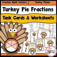 Turkey Pie Fractions has task cards and worksheets