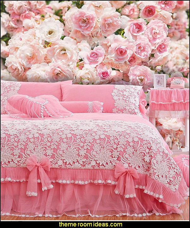 Rosa Wall Mural  White Lace Ruffled Bedding Sets Pink Korean Princess Girls Duvet Cover Set