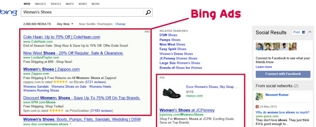 bing ads sample in search