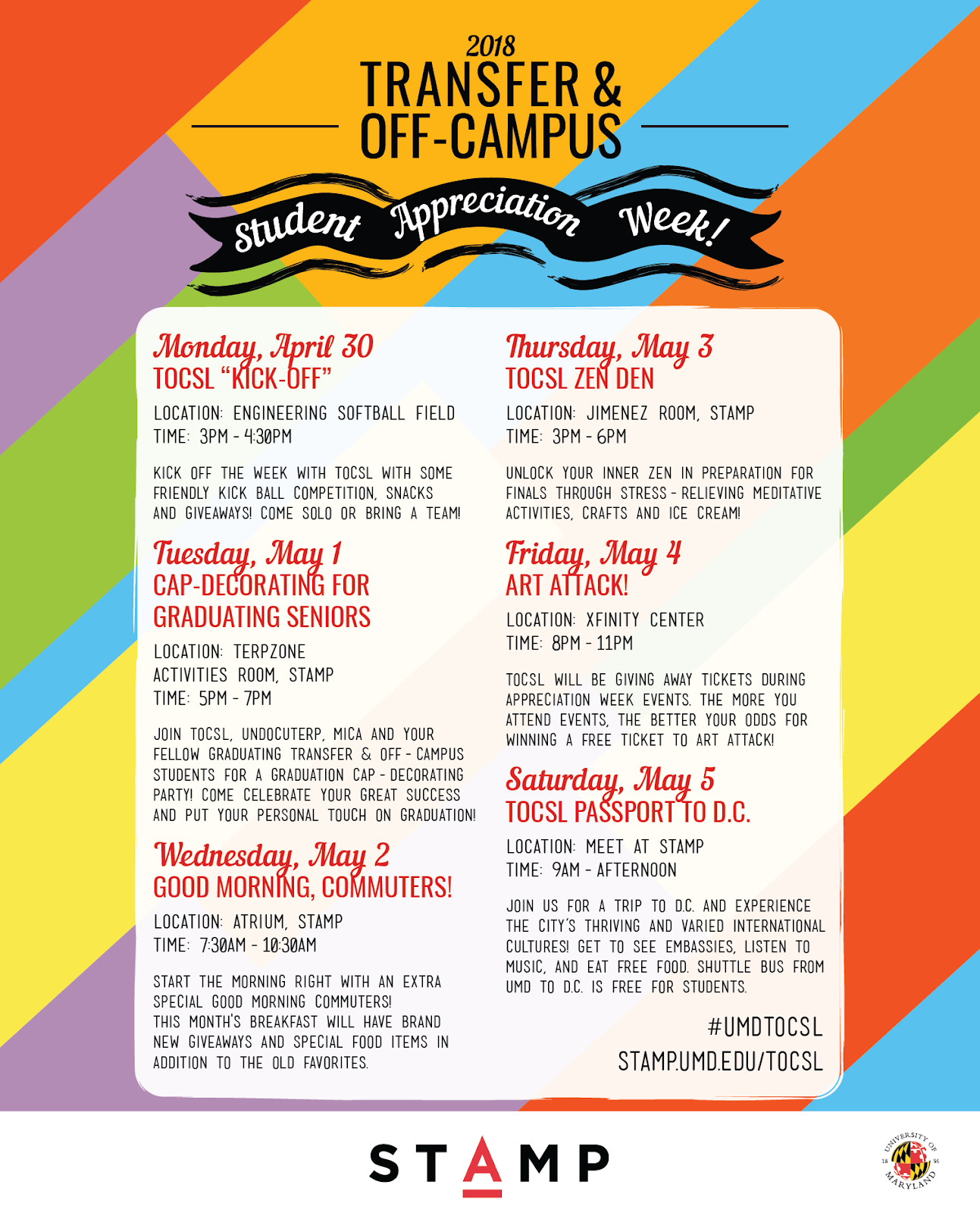 schedule of transfer and off-campus student appreciation week events