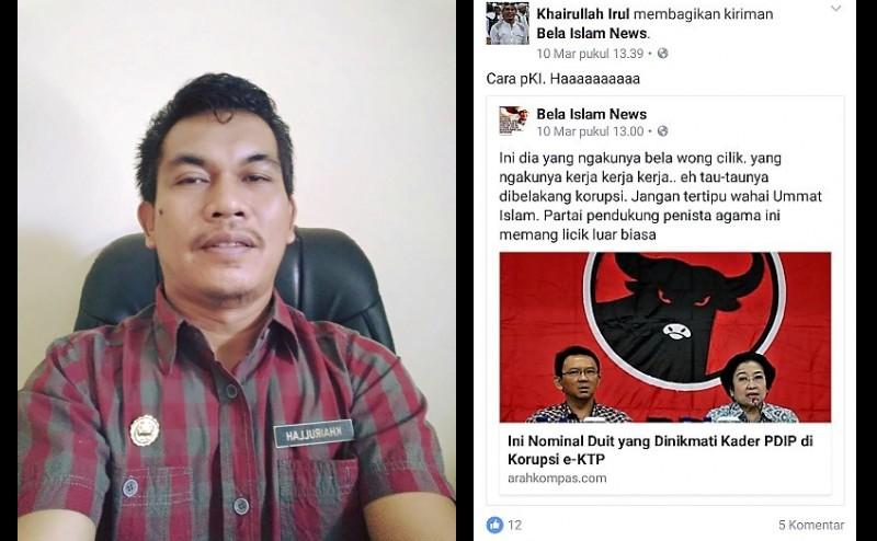 Salah satu postingan Khairullah di FB