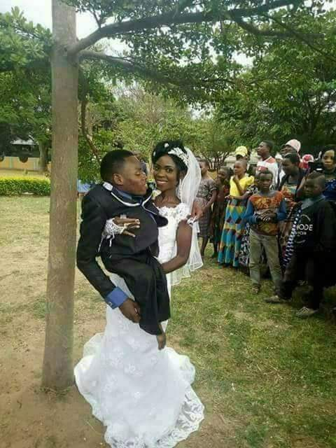 Photos: Pretty young lady marries physically disabled man