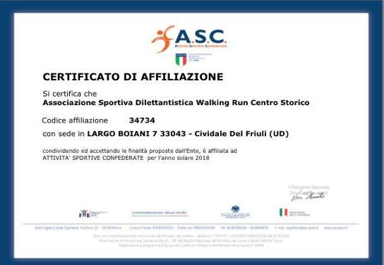 Siamo Affiliati all'Ente ASC SPORT
