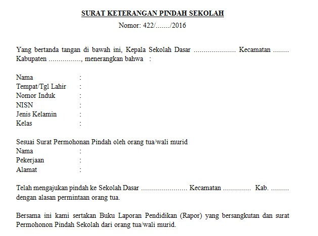 Contoh Surat Keterangan Pindah Sekolah Sd Smp Smasmk