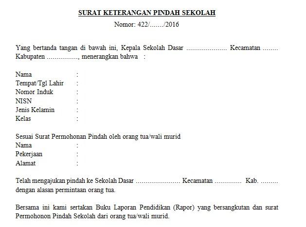Download Contoh Surat Keterangan Pindah Sekolah