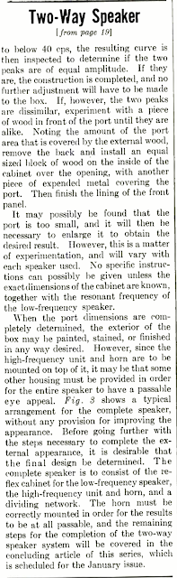 Two Way  Speaker System Part II - 1947