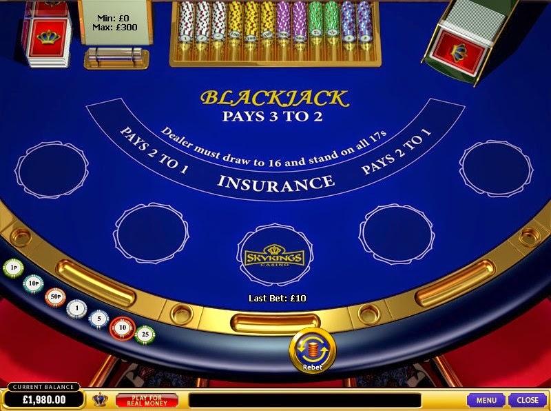 Skyking Casino Blackjack Screen