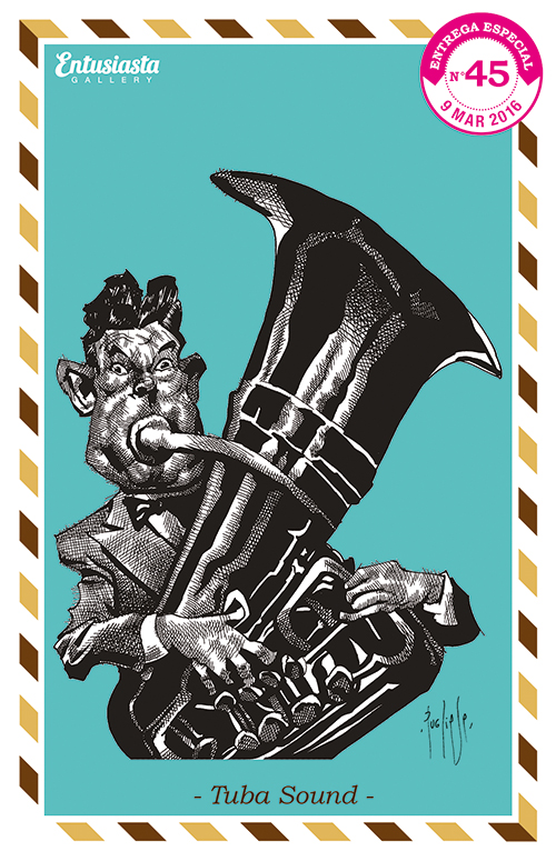 An illustrated postcard with an ink fine art caricature of a man playing jazz with a tuba.
