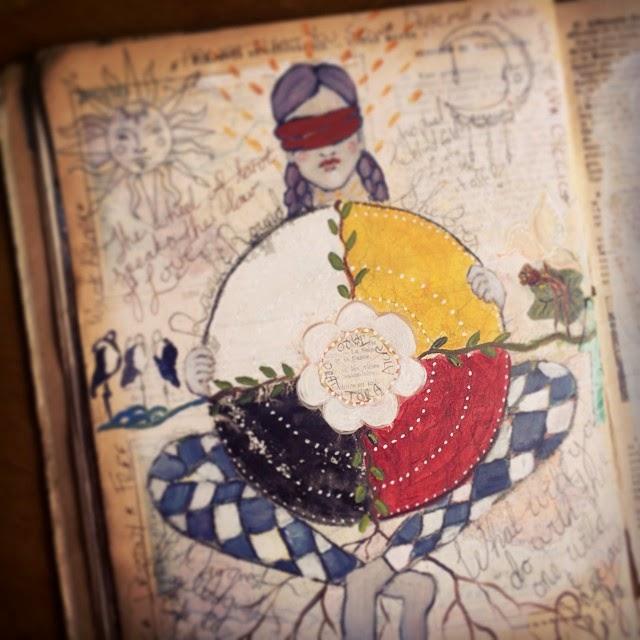 Galia Alena, tarot journal, mixed media Wheel of Fortune