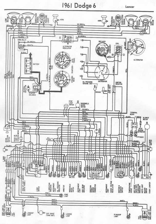 Dodge Lancer 1961 Electrical Wiring Diagram | All about