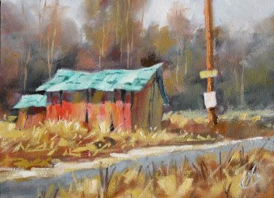 Palette Knife Painters International Red Barn Trees
