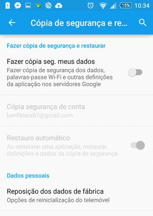 Repor dados de fábrica no Android