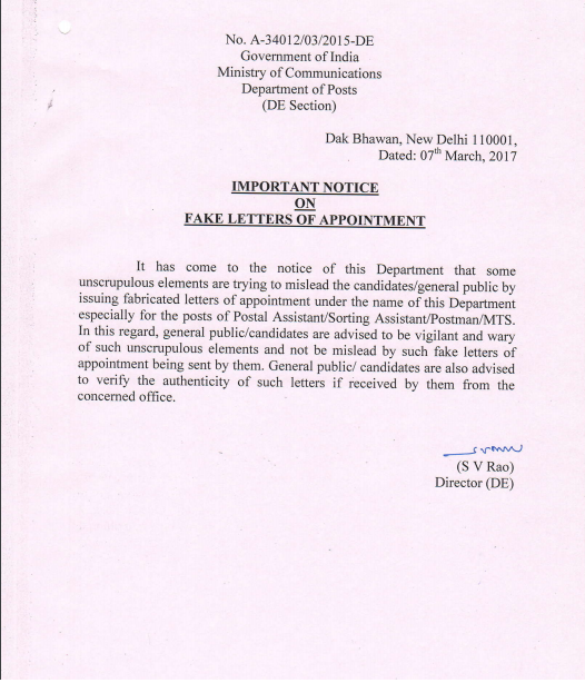 Important Notice On Fake Letter Of Appointment