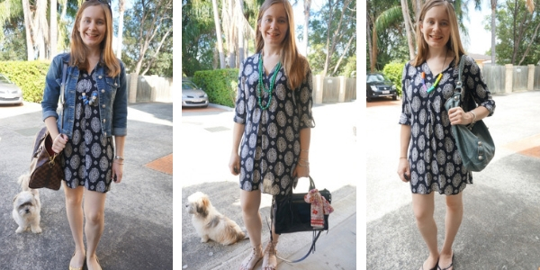 3 ways to wear a navy printed shift dress with blue accessories monochromatic style | awayfromblue