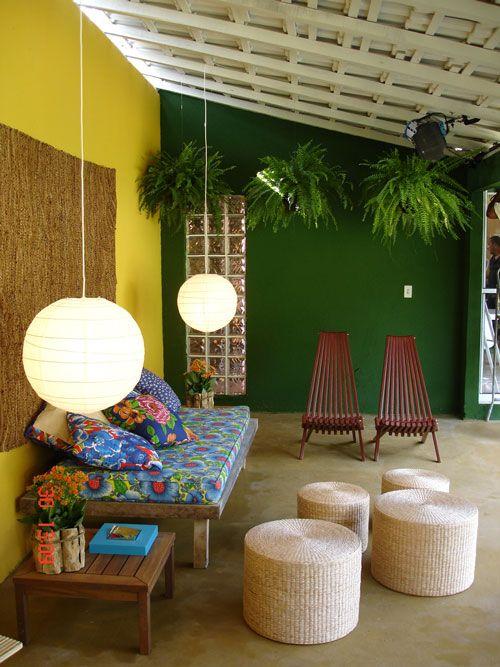 decoração parede verde