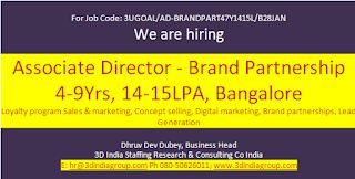 Associate Director - Brand Partnership 4-9Yrs, 14-15LPA, Bangalore Loyalty program Sales & marketing, Concept selling, Digital marketing, Brand partnerships, Lead Generation