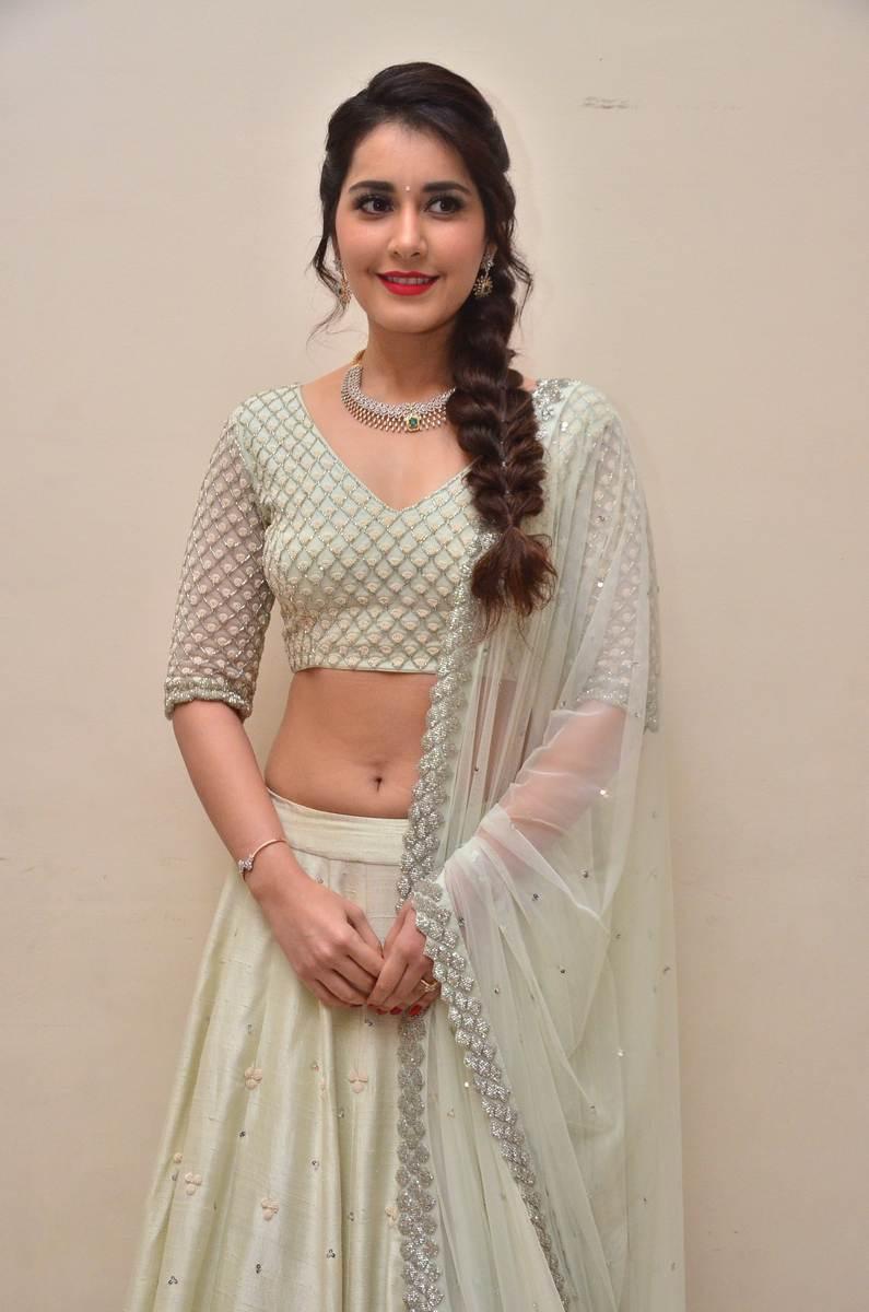 Raashi Khanna in Gorgeous Chania Choli and transparent Chunni at Jai Lava Kusa Trailer Launc