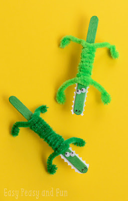 popsicle stick crocodiles