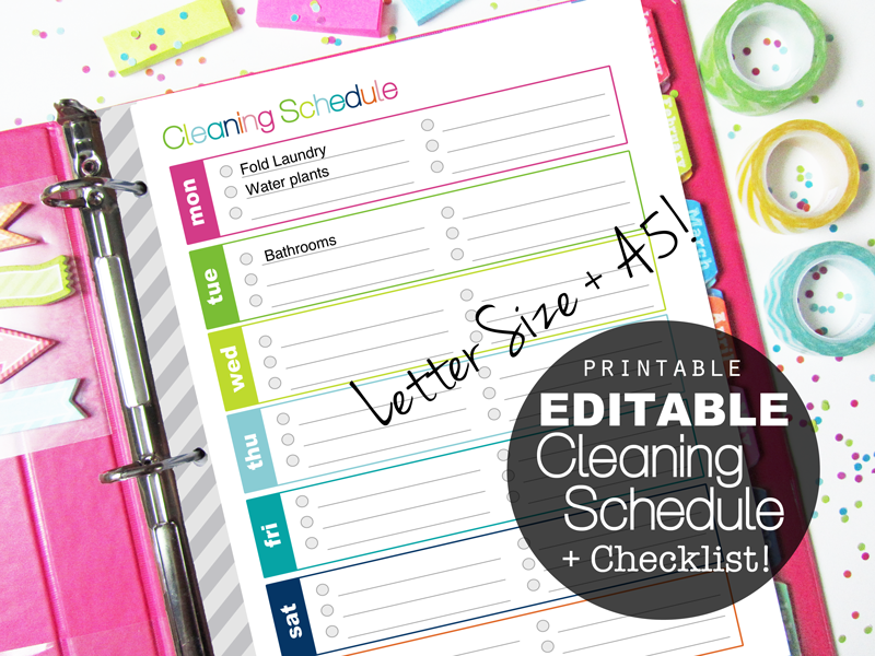 Clean life and home printable planners for Editable cleaning schedule