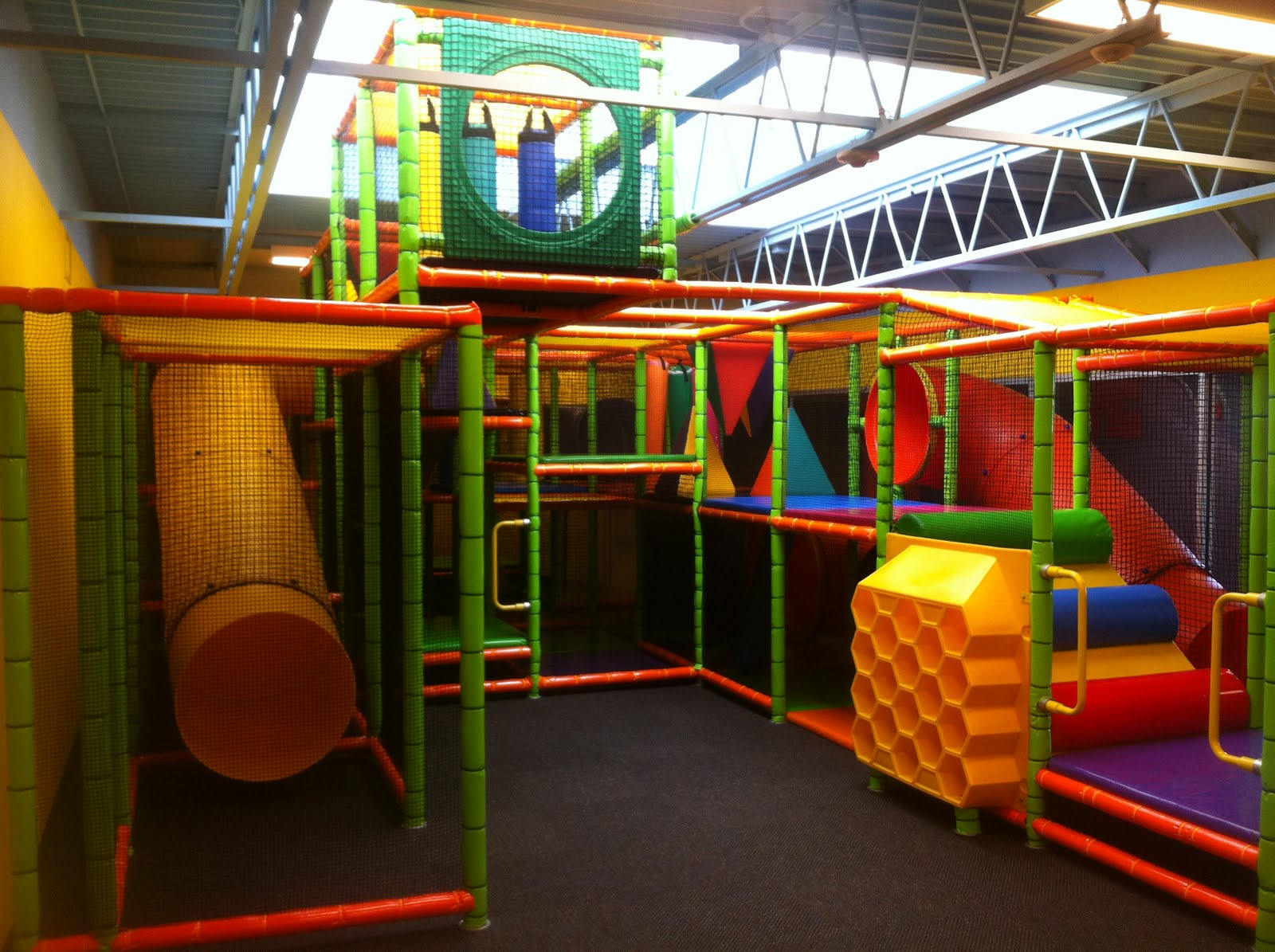 church indoor playground and creative themed kids area at