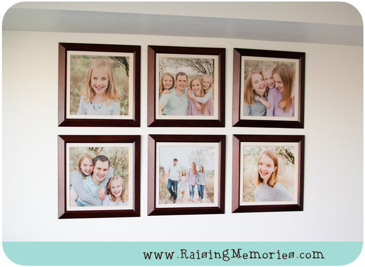 Family Photo Collage Displayed in Living Room