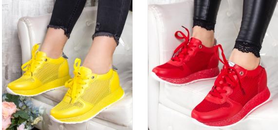Adidasi dama rosii, galbenei moderni de primavara