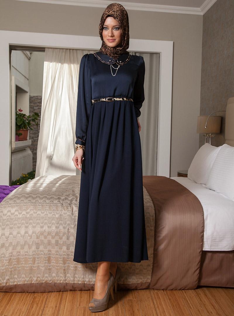Trendy Hijab Fashion 2013 Winter Dress Models for Muslim Womens