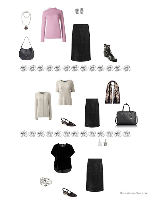 3 ways to wear a black lace skirt from a dressy 4 by 4 Wardrobe in black, taupe and pink