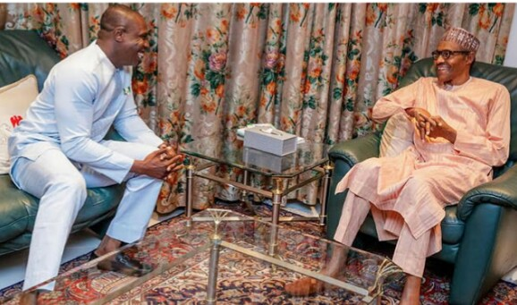 Obasanjo's Son Meets Buhari In Aso Rock (Photo)