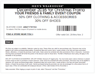 Men's Wearhouse coupons for december 2016