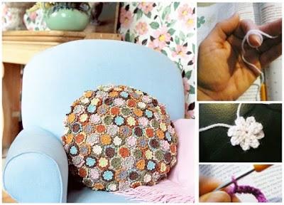 Funda para Cojines con semillas de flores a crochet