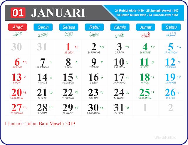 Gambar Kalender 2019 Full HD Gratis format JPG, PNG dan GIF (Jawa dan Hijriyah)