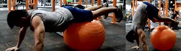 Flexión extrema de tronco con pies apoyados sobre un Fitball