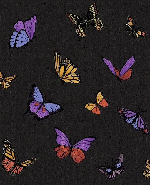 romantyczna tapeta czarna w motyle
