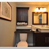 Black bathroom linen storage cabinet