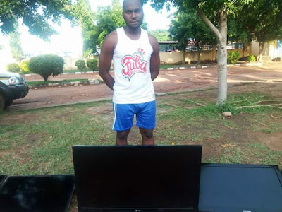 Photos Of A Serial Thief With TV Sets He Stole From Hotels In Benue State