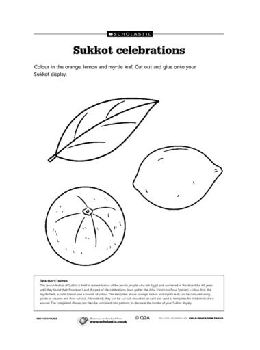 Meaningful Sukkot Worksheets For Children