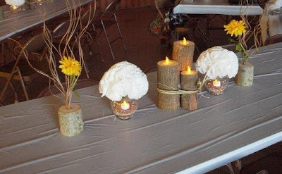 tree, trunk, candle holder, rustic, centerpiece, vase, wood