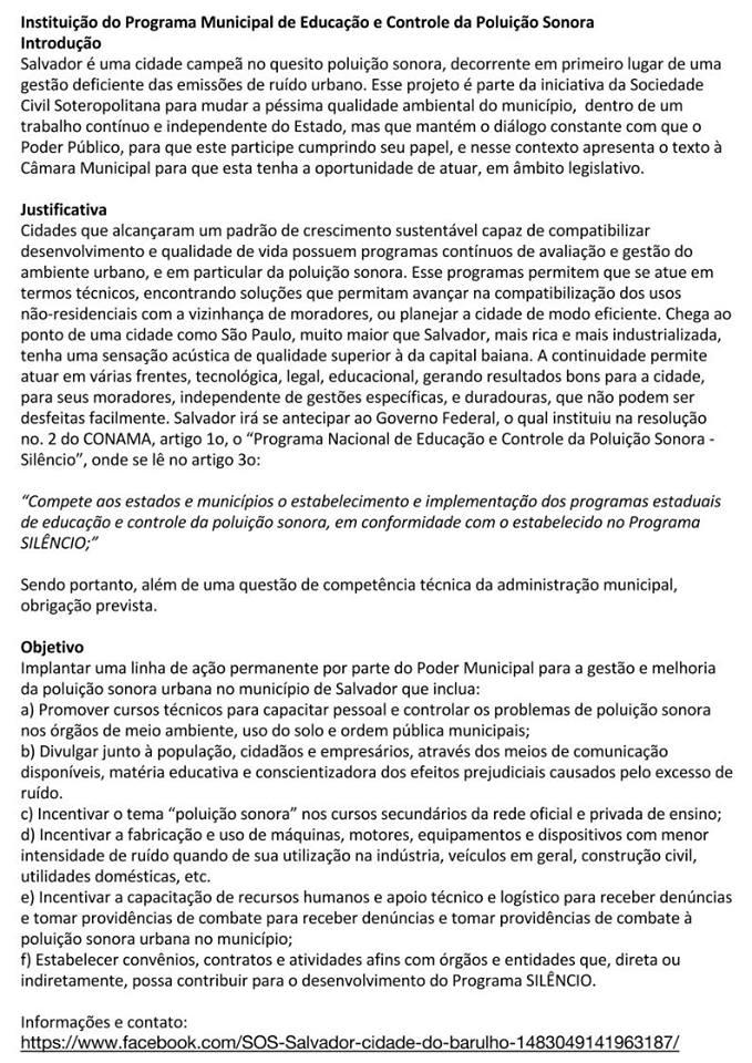 SOS Salvador, Cidade do Barulho