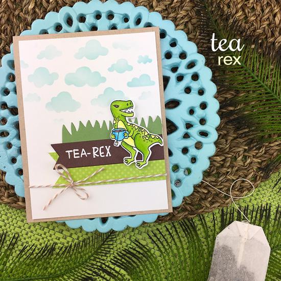 Dinosaur and Tea card by Jennifer Jackson | Tea Rex Stamp Set by Newton's Nook Designs #newtonsnook #handmade