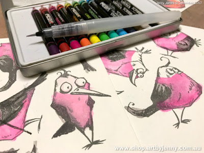colouring galahs with Dina Wakley watercolour art sticks