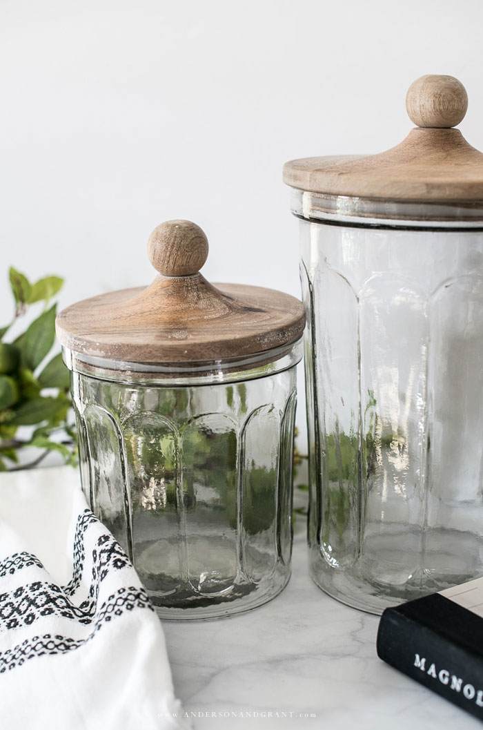 Wood and glass kitchen canisters