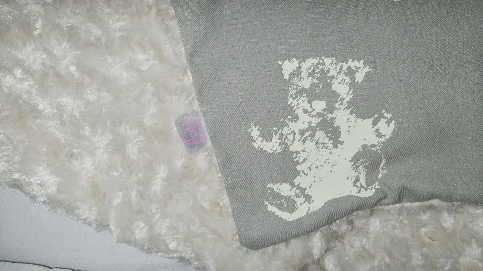 What a cutie teddy bear print baby blanket handmade uk
