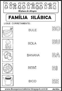 Famílias silábicas alfabetização letra B