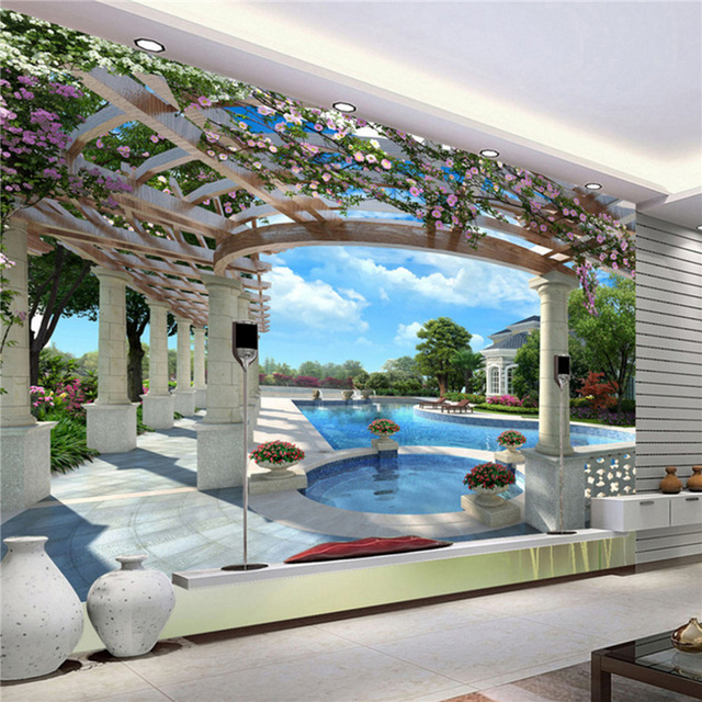 Scenic Wall Murals 3D Photo Wallpaper Bedroom Wall Murals Livingroom Pool